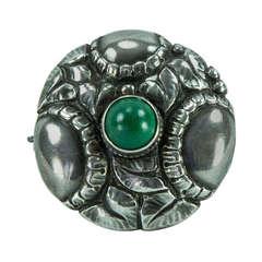 Theodor Fahrner Jugendstil Green Onyx Sterling Silver  Brooch Pin