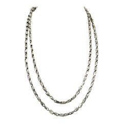 Mid Century Modern Long Silver Brutalist Watch Chain Necklace