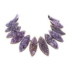Glam Gem Amethyst Marquise Druzy Silver Statement Necklace Fine Jewelry