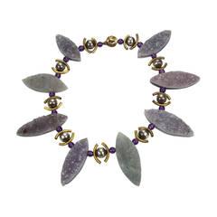 Unique Gem Amethyst Marquise Navette Druzy Silver Necklace