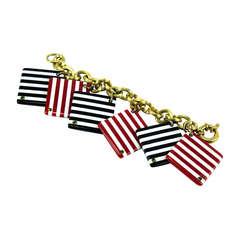 Mid Century Modern Striped Tile Bracelet