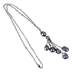 Striking CZ Sterling Silver Baroque Pearl Drops Tassel Necklace