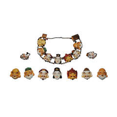 Toshikane Seven Gods of Good Fortune Bracelet Earrings and Button Set