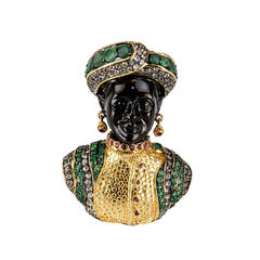 Blackamoor Ruby Emerald Gilt Sterling Silver Designer Brooch Pin Pendant