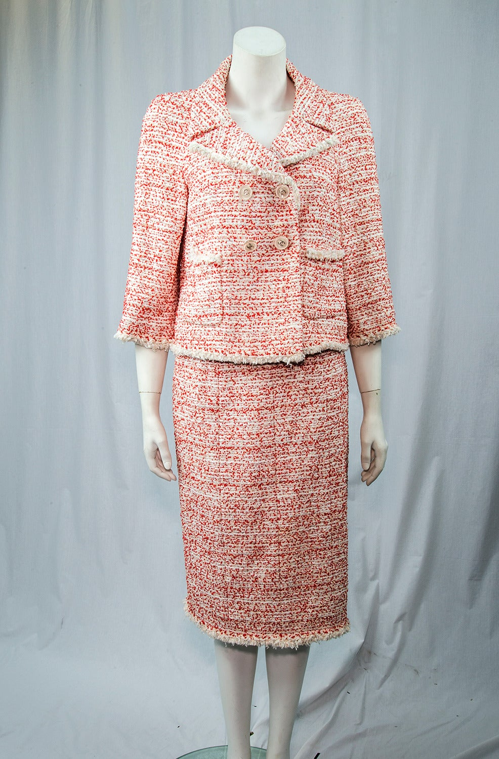 Classic Chanel Beautiful Red And White Tweed Suit For Sale