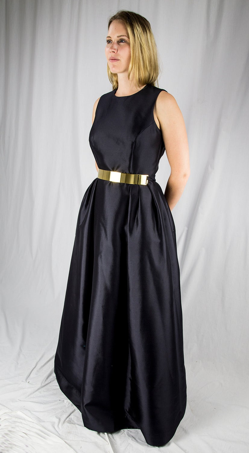 Wayne Clark Black Gold Belted Gown In Excellent Condition For Sale In Montreal, CA