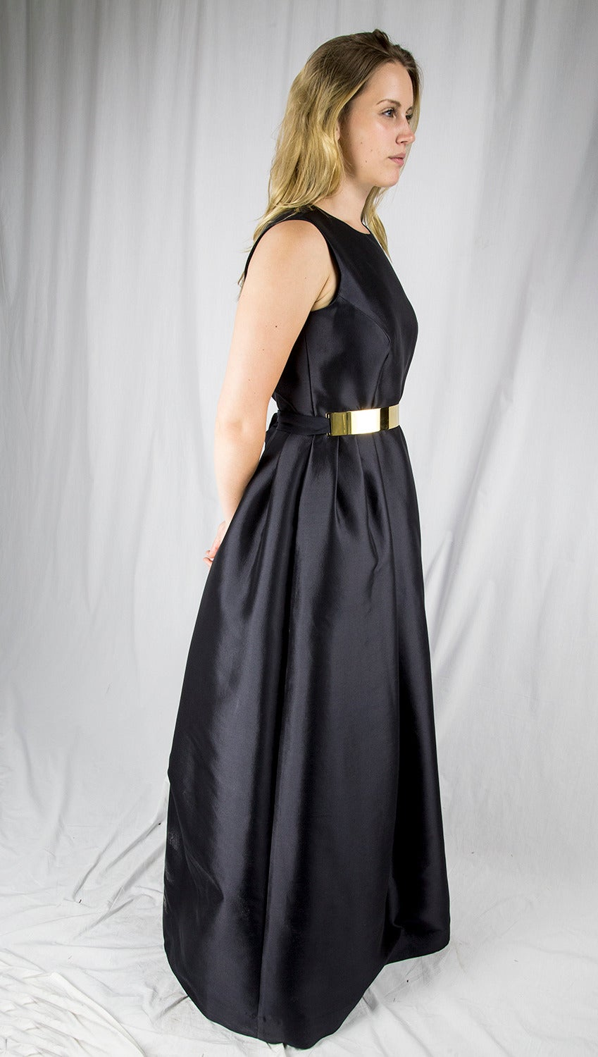 Women's Wayne Clark Black Gold Belted Gown For Sale