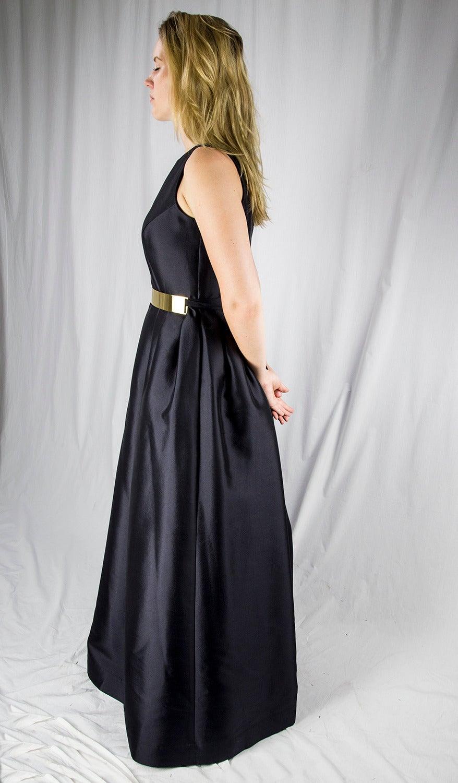 Wayne Clark Black Gold Belted Gown For Sale 3