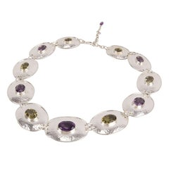 Chunky Amethyst Citrine Sterling Silver Disc Choker Necklace Estate Fine Jewelry