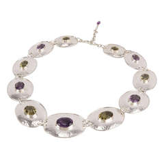 Chunky Amethyst Citrine Sterling Silver Disc Choker Necklace C1960s