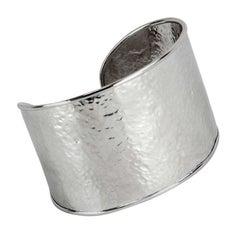 Chunky Mid Century Modern Sterling Silver Cuff Bracelet