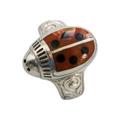 Walter Schluep Red Enamel Ladybug Sterling Silver Ring M822c