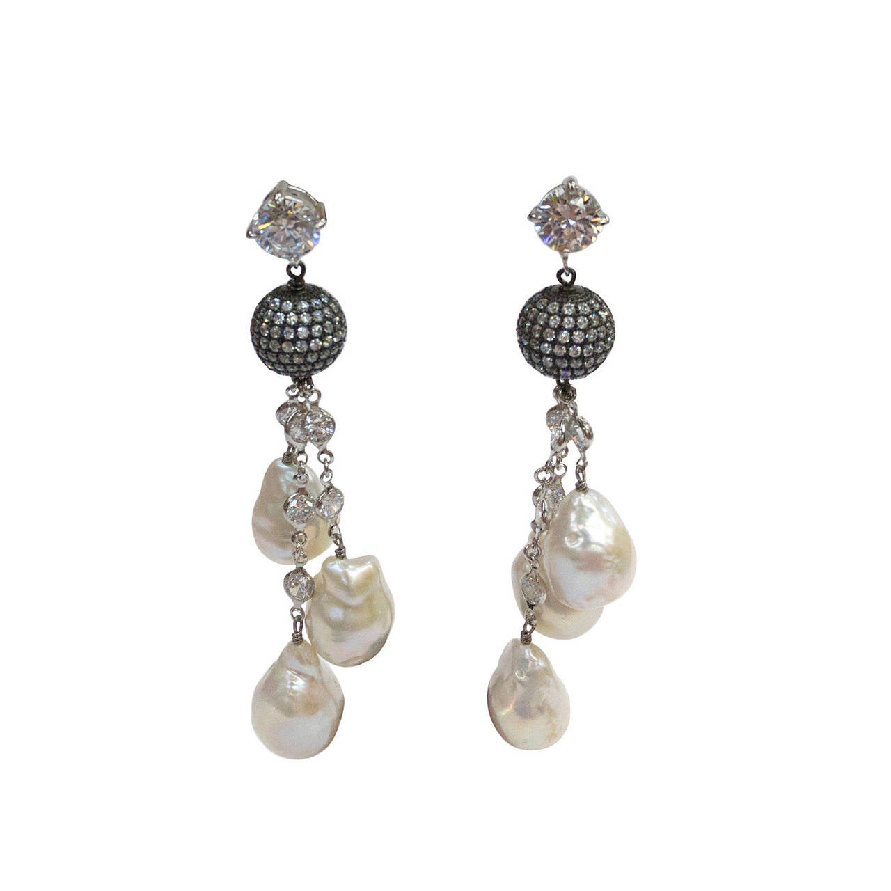 Striking CZ Sterling Baroque Pearl Drops Tassel Silver Dangle Earrings 1
