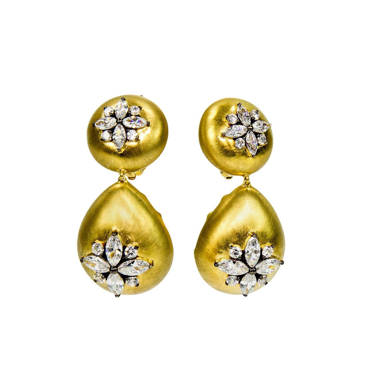 Gilt Sterling Silver CZ Drop Earrings 1