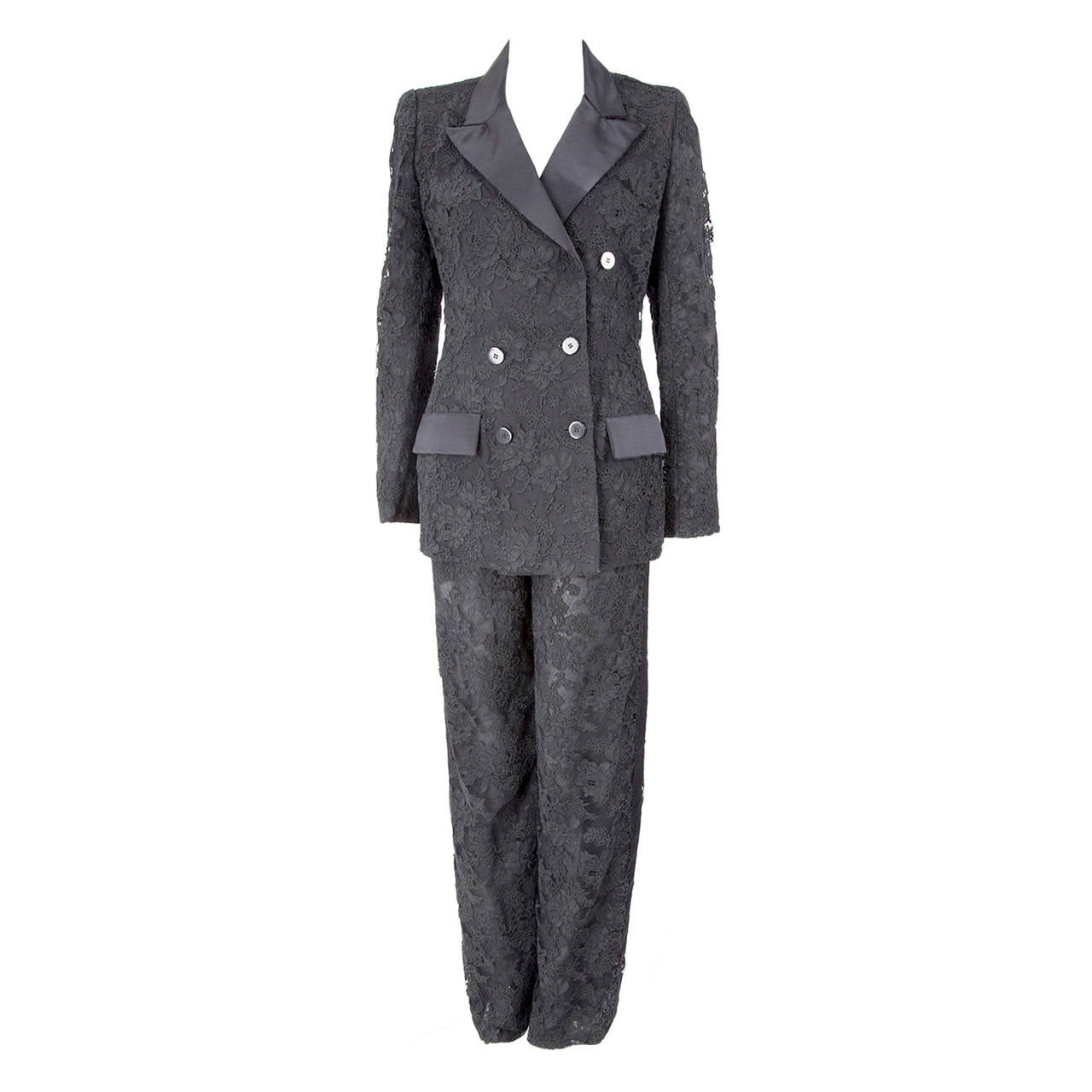 Bill Blass Black Alençon Lace and Satin Cocktail Tuxedo Suit