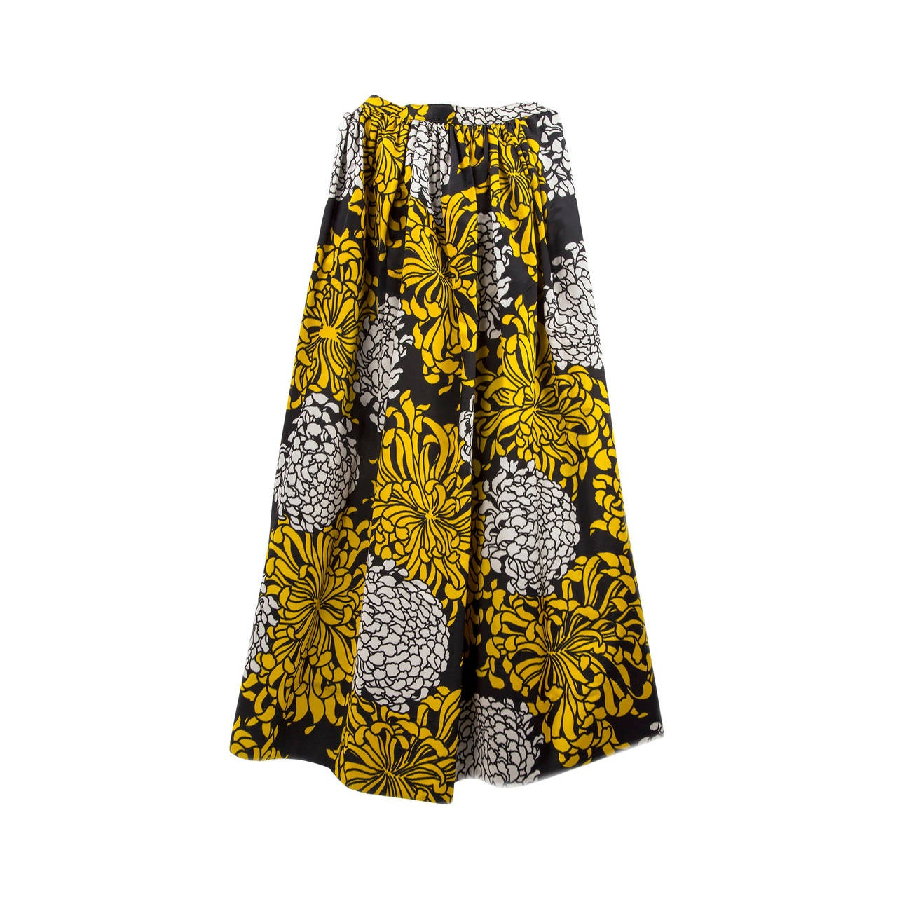 Stunning Adolfo Gold Black and Silver Pleated Floral Silk Long ...