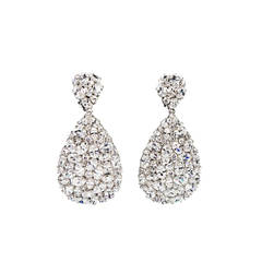 Teardrop CZ Encrusted Sterling Silver Dangle Earrings