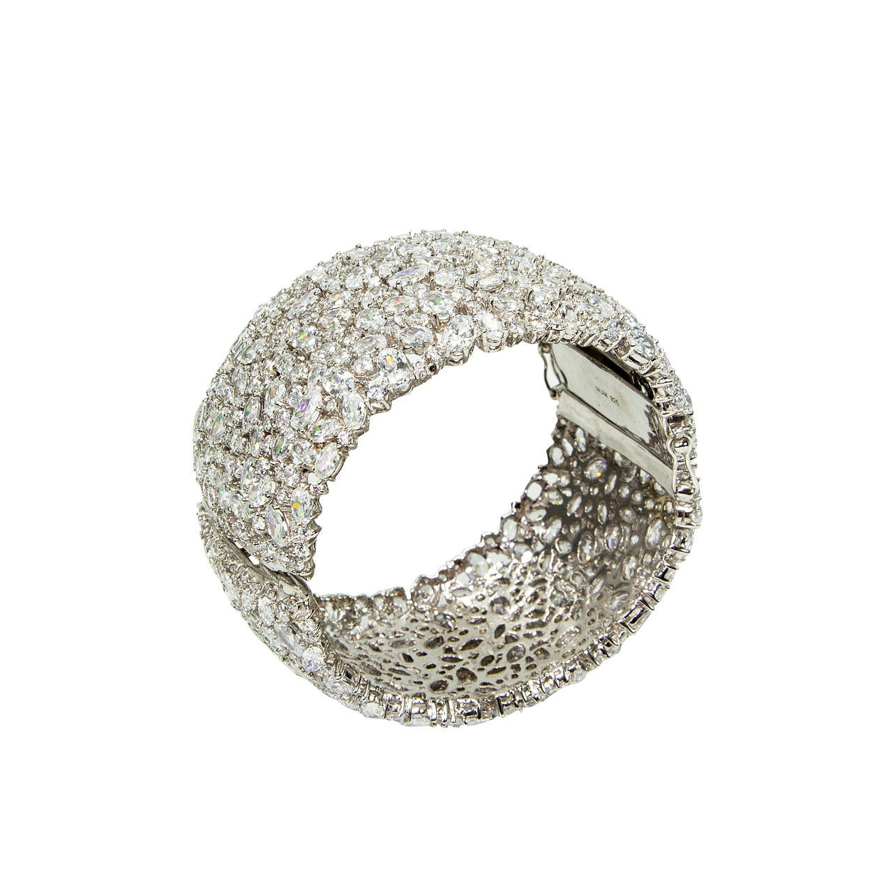 Striking Wide Sterling Silver Cz Encrusted Cuff Bracelet