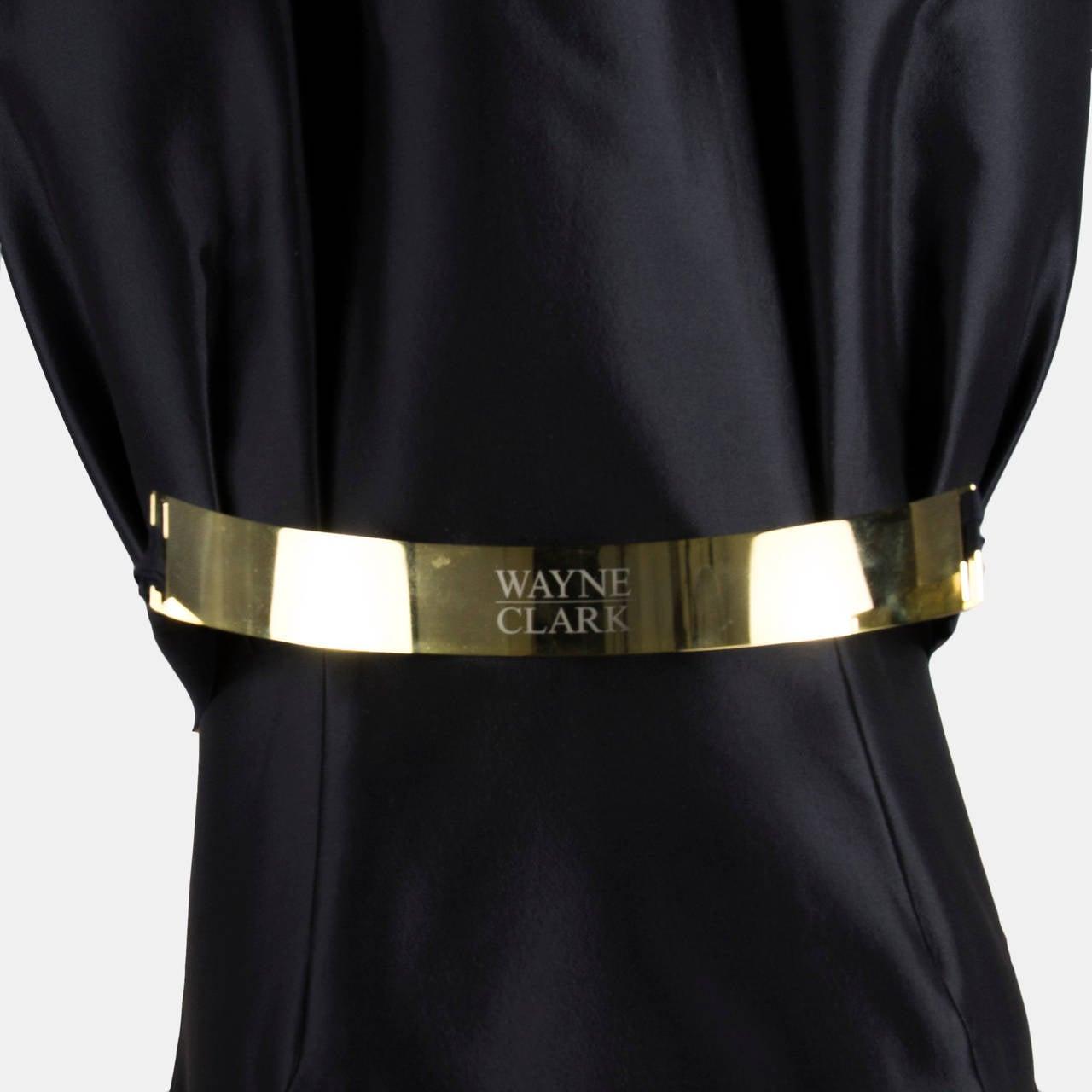 Wayne Clark Black Gold Belted Gown For Sale 5