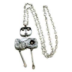 Striking Walter Schluep Cubist Style Swivel Sterling Silver Pendant Necklace