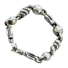 Walter Schluep Ball and Chain Link Sterling Silver Bracelet