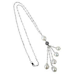 Striking CZ Sterling Silver Baroque Pearl Drops Tassel Necklace