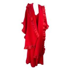 Sensational Vintage Serge et Real Long Red Dress and Long Shawl
