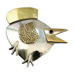 Walter Schluep Modernist Bird Pin in Sterling Silver and 14k  Gold