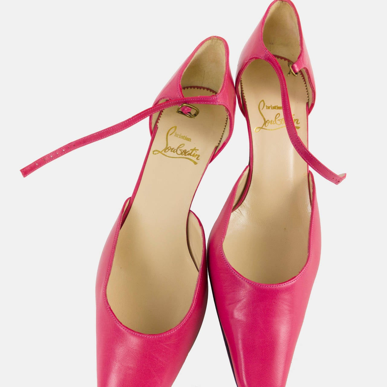 Christian Louboutin Pointy Toe Leather Hot Pink Fuscia Shoes Size 39.5 3