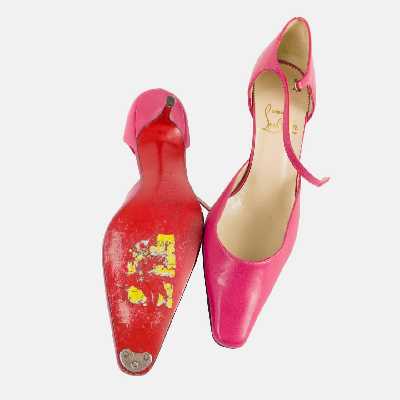 Women's Christian Louboutin Leather Hot Pink Fuscia Shoes Size 39.5 For Sale