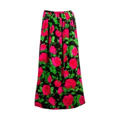 Striking Adolfo Red Pink Green and Black Pleated Floral Silk Long Skirt
