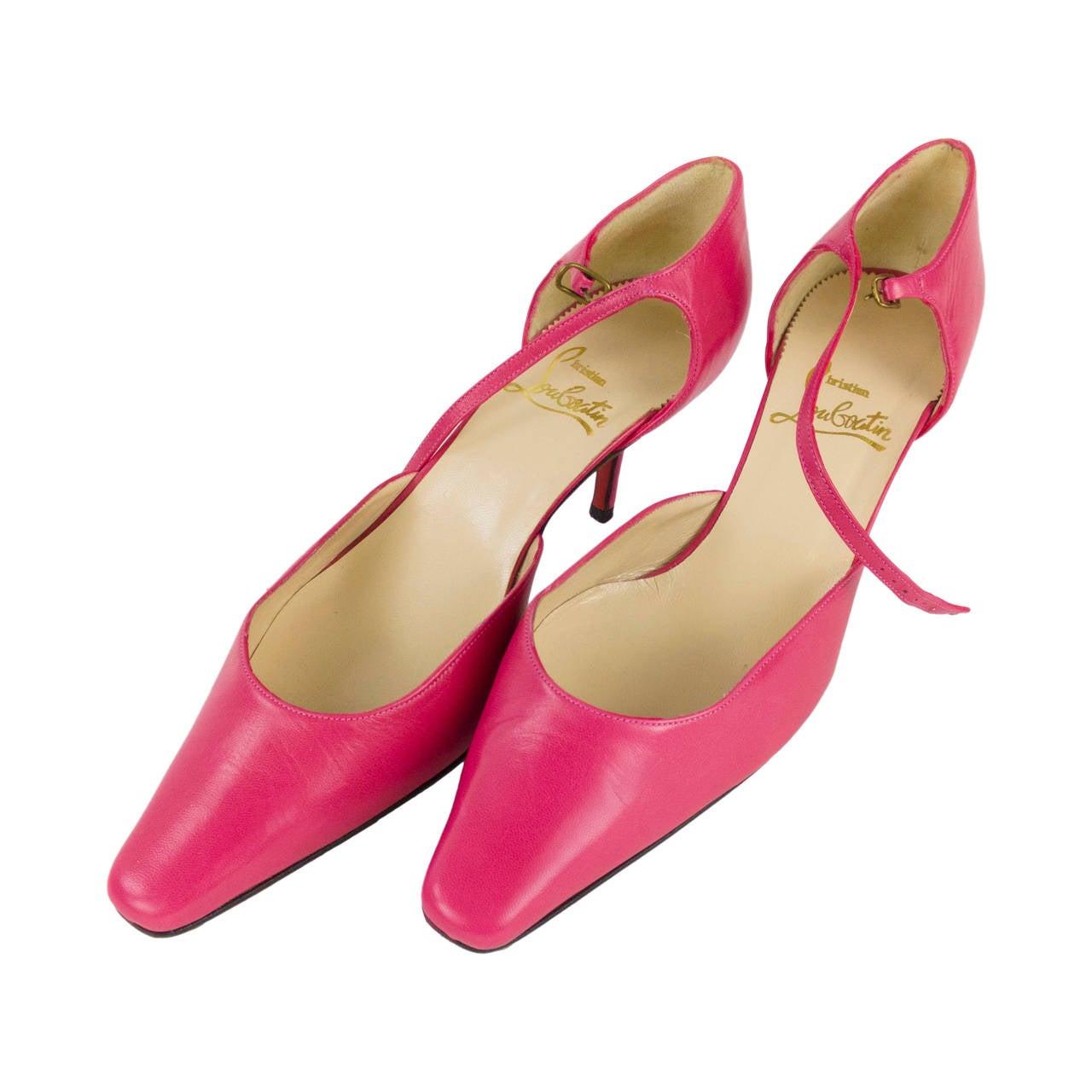 christian louboatin pointy toe leather pink shoes size