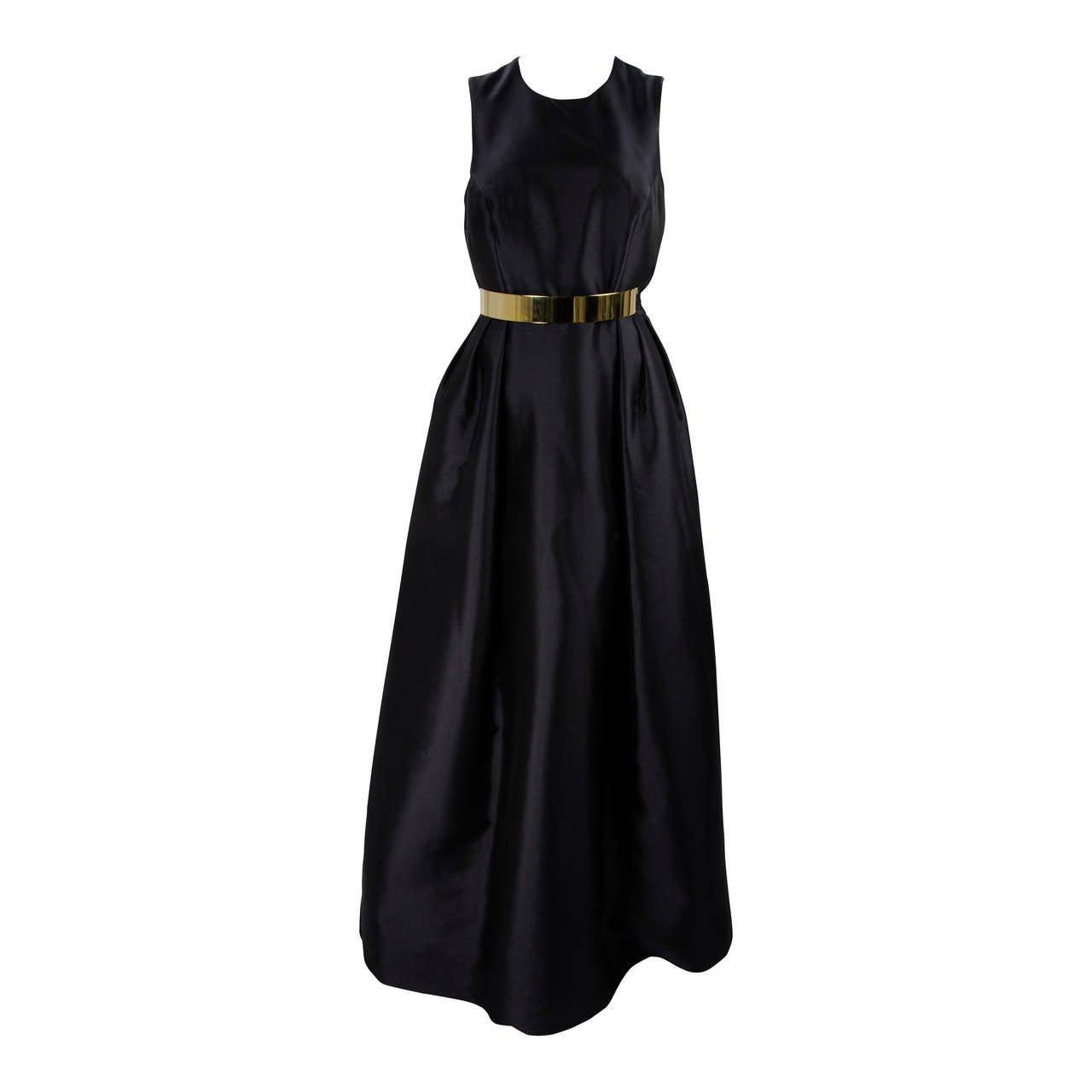Wayne Clark Black Gold Belted Gown For Sale