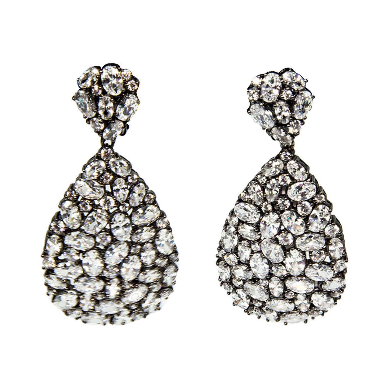 Teardrop Faux Diamond Encrusted Sterling Silver Drop Statement Earrings For