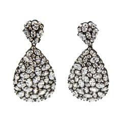 Teardrop CZ Encrusted Sterling Silver Dangle Earrings