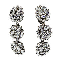 Fabulous CZ Encrusted Triple Round Sterling Silver Drop Earrings