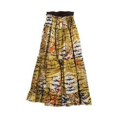 Roberto Cavalli Long Silk Skirt