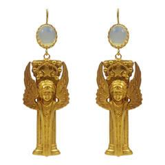 Fabulous Askew London Winged Goddess Column Drop Earrings