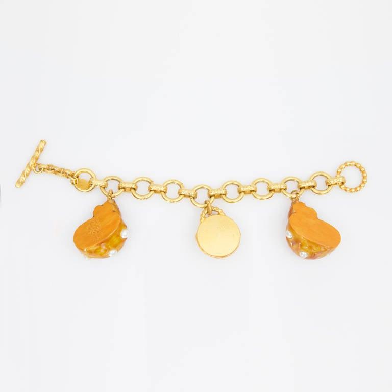 dominique aurientis orange enamel faux pearl shell