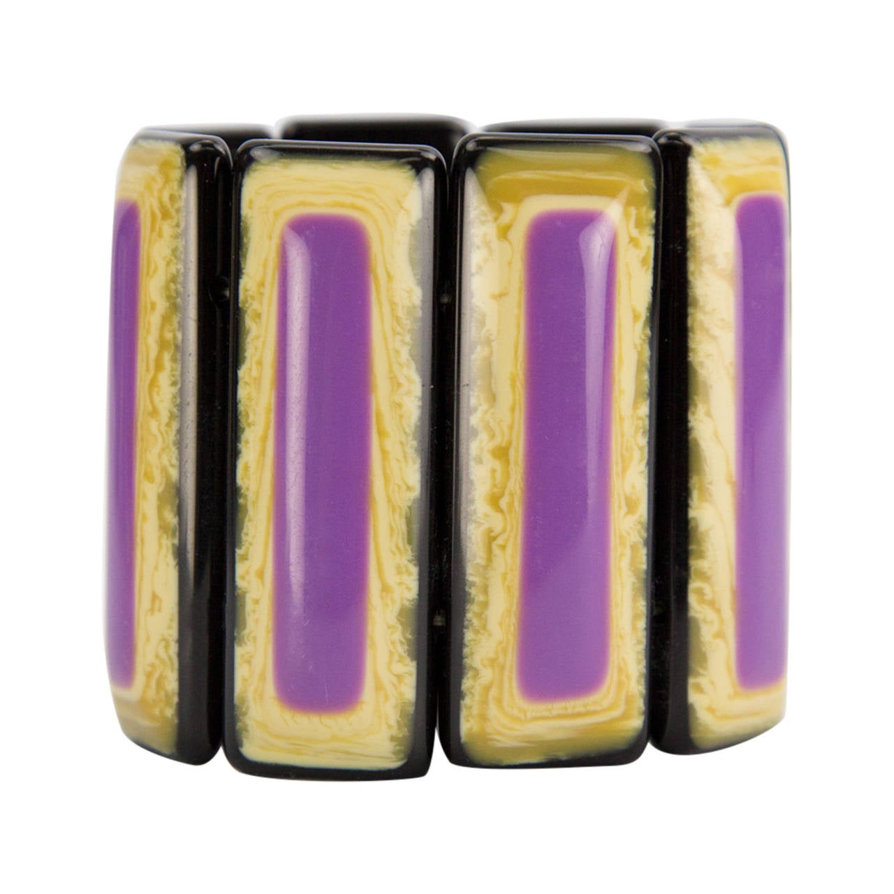 Vibrant Purple and  Banded Celluloid Bracelet For Sale