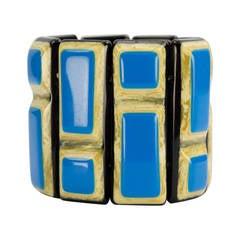 Vibrant Turquoise Banded Celluloid Bracelet