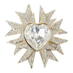KJL KENNETH J LANE Sparkling Heart Ice Star Statement Brooch Pin