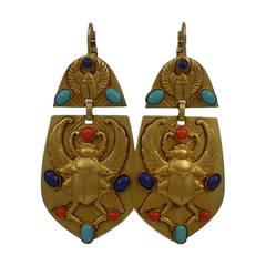 Askew London 'Egyptian Revival' Winged Scarab Doorknocker Earrings