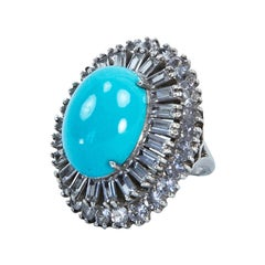 Mid Century Modern CZ and Faux Turquoise Sterling Silver Runway Cocktail Ring