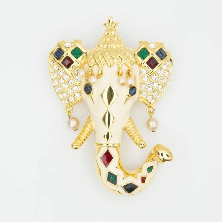KJL Kenneth Jay Lane Royal Maharajah Enamel Elephant Brooch Pin 3