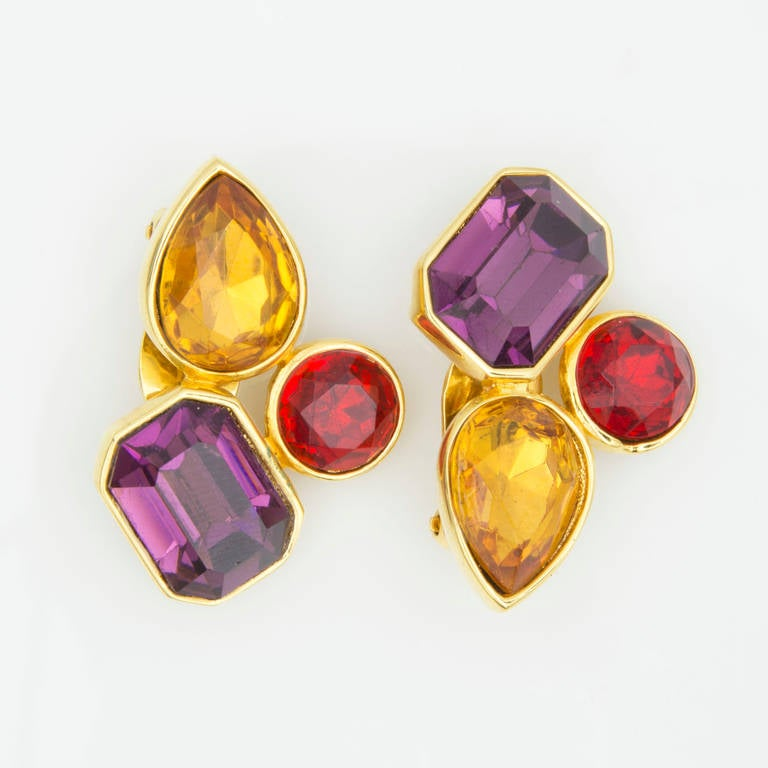 """Beautiful Colorful Jewel Gold tone Clip Earrings signed by ALEXIS KIRK. Approx. 1.75"""" long; Classic and Timeless. Taking you from day to evening effortlessly!"""
