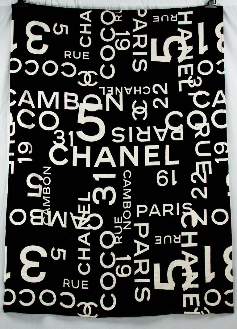 0b41bd9fcdf5 Head to the waterfront in style with this Chanel beach towel with a bold,  visually