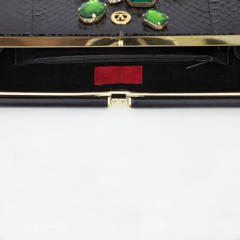 Extraordinary Vanentino Garavani Haute Couture Lizard Jewel Clutch Bag In Excellent Condition For Sale In Montreal, QC