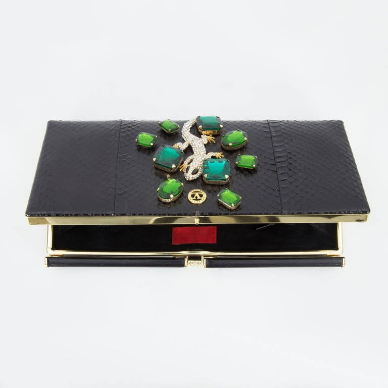 Black Extraordinary Vanentino Garavani Haute Couture Lizard Jewel Clutch Bag For Sale