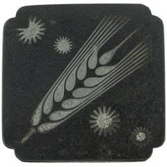 Georg Jensen Iron and Silver Arno Malinowski Wheat Brooch Pin C1940s